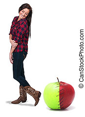 Woman with a Stitched Apple - Beautiful woman standing...