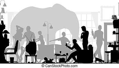 Elephant in the room - Editable vector silhouettes of a...