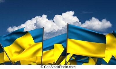 Waving Ukrainian Flags seamless alpha channel