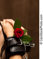romantic and painful love - romantic closeup of an...
