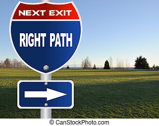 Right path road sign