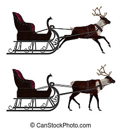 Reindeer with sleigh - Digitally rendered illustration of a...