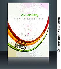 Beautiful brochure template for stylish indian flag reflection tricolor vector