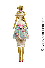 Handmade isolated doll in dress and pants with wings and...