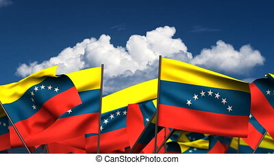 Waving Venezuelan Flags seamless alpha channel