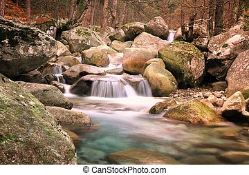 Restonica Valley, Corsica - The natural waterfalls, rock...