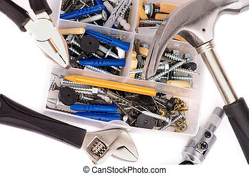 Work Tools - Arrangement of Work Tools and Box with Various...
