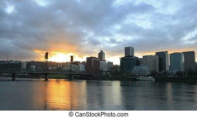 Portland Oregon City at Sunset - Portland Oregon Downtown...
