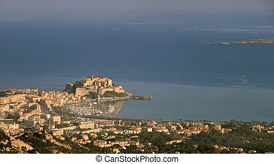 Calvi port and citadel, Corsica - Port, harbour, town and...