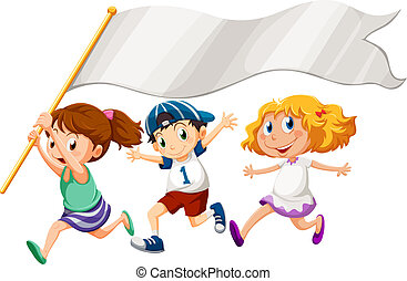 Three kids running with an empty banner - Illustration of...