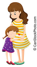 A daughter hugging her mother - Illustration of a daughter...