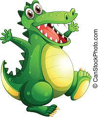 A playful green crocodile