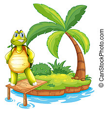 An island with a turtle standing above the wooden bridge -...