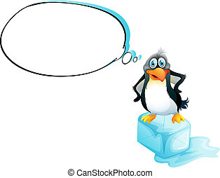 A penguin standing above an icecube - Illustration of a...