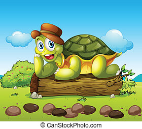 A smiling turtle above the trunk - Illustration of a smiling...