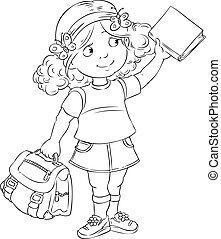 schoolgirl - Smiley schoolgirl standing with a bag and book