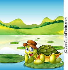 A happy turtle above the floating waterlily - Illustration...