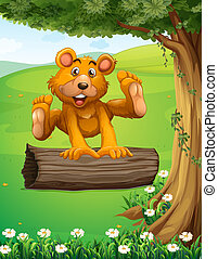 A bear playing with the trunk under the tree - Illustration...