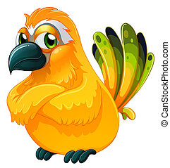 An angry bird - Illustration of an angry bird on a white...
