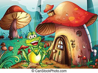 A frog near the mushroom house
