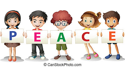Kids holding the PEACE letters - Illustration of the kids...
