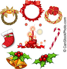 Christmas decors - Illustration of the christmas decors on a...