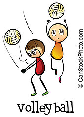 Stickmen playing volleyballs - Illustration of the stickmen...