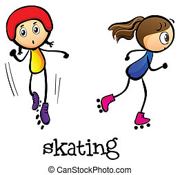 Two girls skating - Illustration of the two girls skating on...