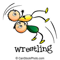 Two men wrestling - Illustration of the two men wrestling on...