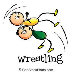 Two men wrestling - Illustration of the two men wrestling on...