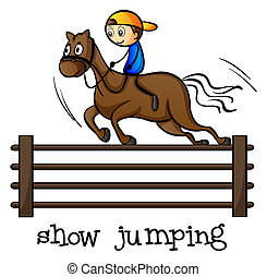 A show jumping - Illustration of a show jumping on a white...