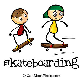 Two boys skateboarding - Illustration of the two boys...