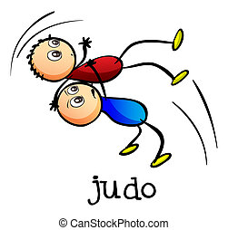 Stickmen doing judo - Illustration of the stickmen doing...