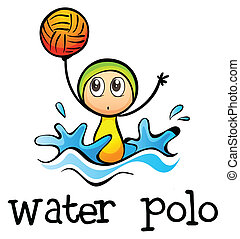A stickman playing water polo - Illustration of a stickman...