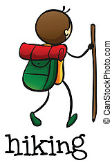 A stickman hiking - Illustration of a stickman hiking on a...