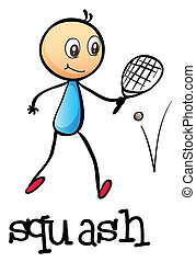A stickman playing tennis - Illustration of a stickman...
