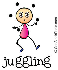A stickman juggling