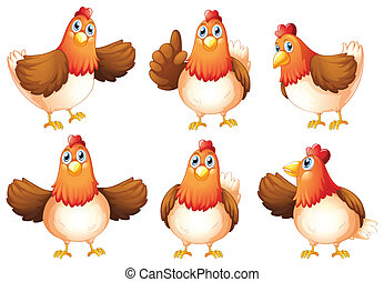Six fat chickens - Illustration of the six fat chickens on a...