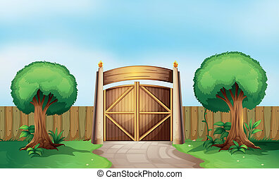A gated park - Illustration of a gated park
