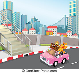 A pink vehicle with animals running at the city