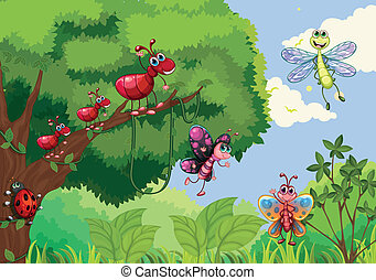 Insects at the forest - Illustration of the insects at the...