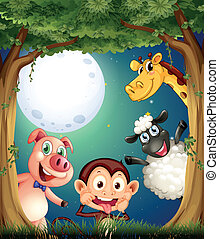 Four animals playing at the forest under the bright fullmoon