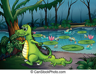 A forest with a pond, crocodiles and fishes - Illustration...