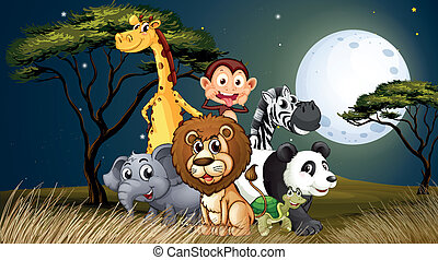 A group of playful animals under the bright fullmoon -...
