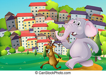 Illustration of a deer and an elephant running at the hilltop across the tall buildings