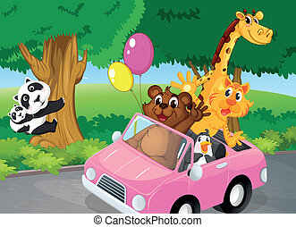 Bears climbing and a pink car full of animals - Illustration...