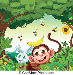A forest with happy animals