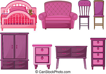 Furnitures in pink color - Illustration of the furnitures in...