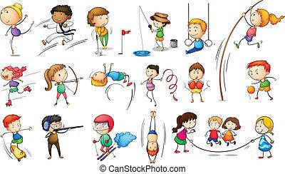 crianças, empregando, diferente, esportes