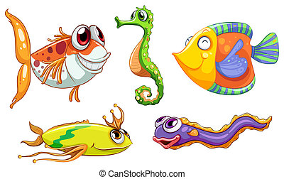 Five sea creatures - Illustration of the five sea creatures...